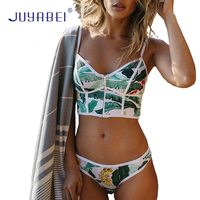 JUYABEI Sexy Floral Biquini Thong Zipper High Neck Bathing Suit Plus Size Swimwear Women Brazilian Bikini
