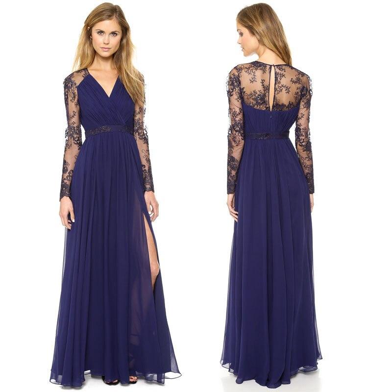 Slim Sexy à manches longues col en V profond dentelle couture robe en mousseline de soie femmes élégant Maxi été automne europe robe bleue américaine