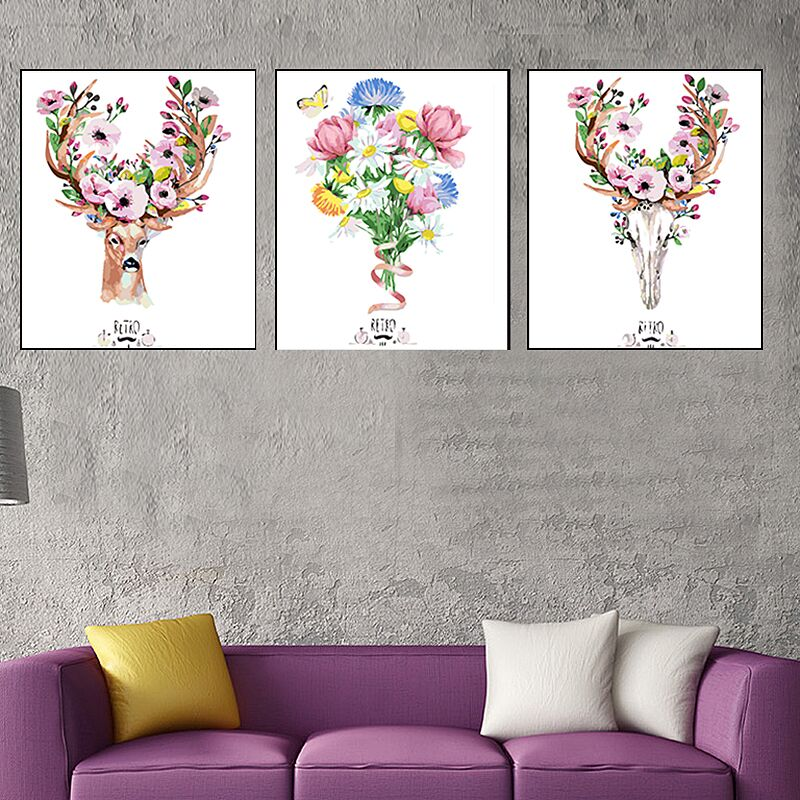 HTB1SQ8sXorrK1RkSne1q6ArVVXaw 3 pcs DIY Oil Painting by Numbers Flower Triptych Pictures Animal Coloring Landscape Abstract Paint Wall Sticker Home Decor Gift