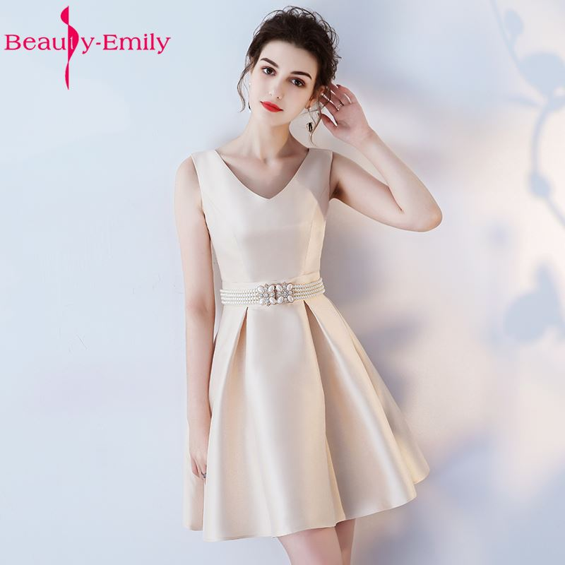 a08462a7c88 Beauty Emily Champagne A Line Short Sexy V neck Party Prom Dresses 2019  Homecoming Dresses Sleeveless Formal Occasion Dresses-in Prom Dresses from  Weddings ...