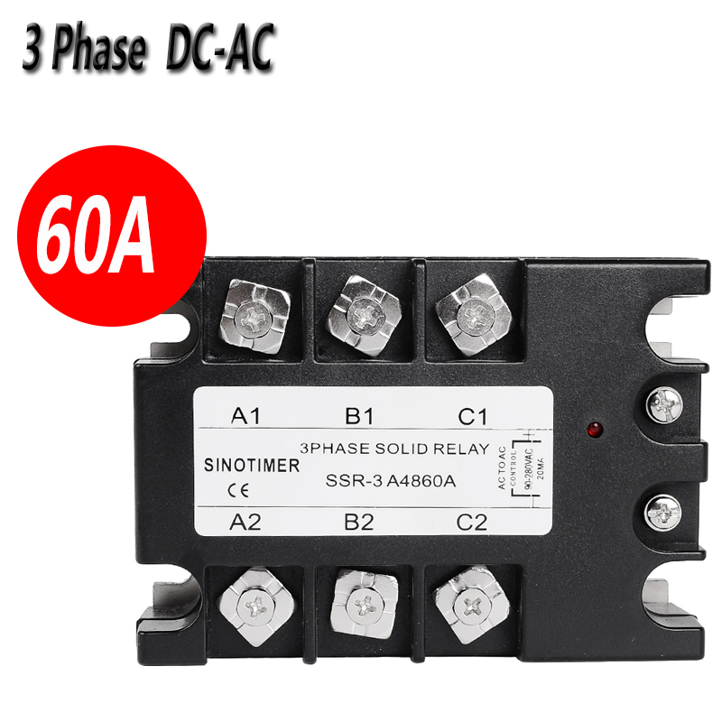 SINOTIMER D4860A 3 Phase Solid State Relay SSR 60A DC-AC 30-480V AC Output Module Switch Relay relais single phase solid state relay 220v ssr mgr 1 d4860 60a dc ac