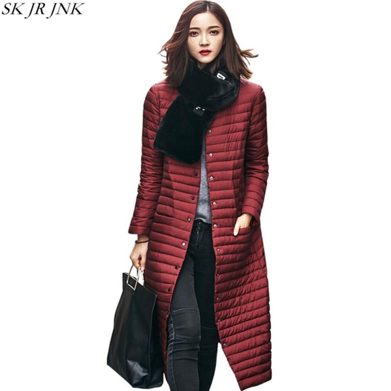 2017 Winter New Women White Duck Down Parkas Female Down Jacket Ladies Wadded Coat Warm Cotton Coat Long Button Parkas WQ328