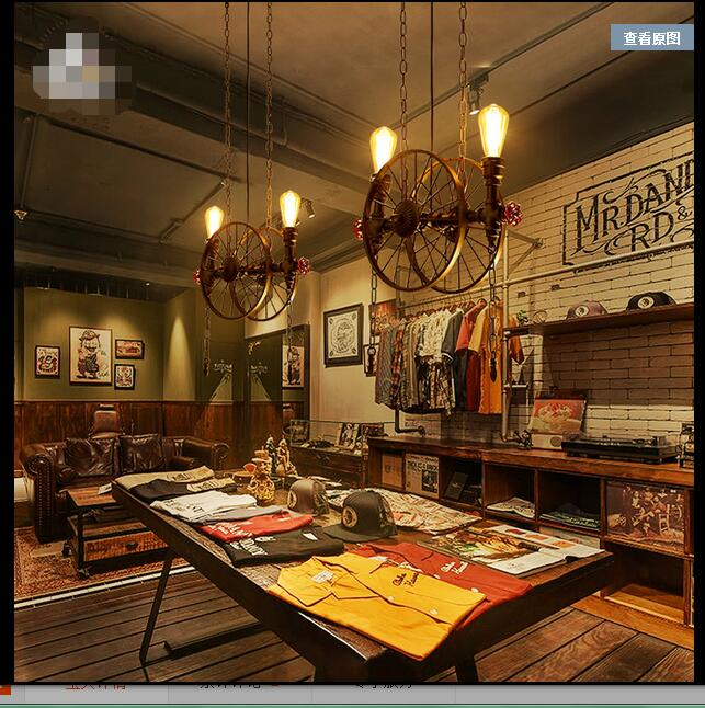 Loft retro industrial wind creative water pipe iron warehouses wheel lamp personality restaurant bar US Pendant Lights ZCL 40cm the pendant light creative personality of iron spider fashion art restaurant bar cafe loft industrial wind