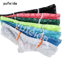 YUFEIDA 7PCS/Lot Sexy Gay Boxer Shorts Underwear Lace Transparent Fishnet Mens Gay Couple Mini Boxer Erotic Underwear Lingerie