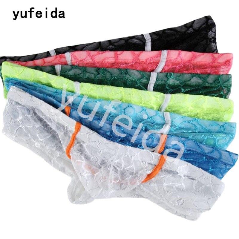 YUFEIDA 7PCS/Lot Sexy Boxer Shorts Underwear Lace Transparent Fishnet Mens Couple Mini Boxer Erotic Underwear Lingerie