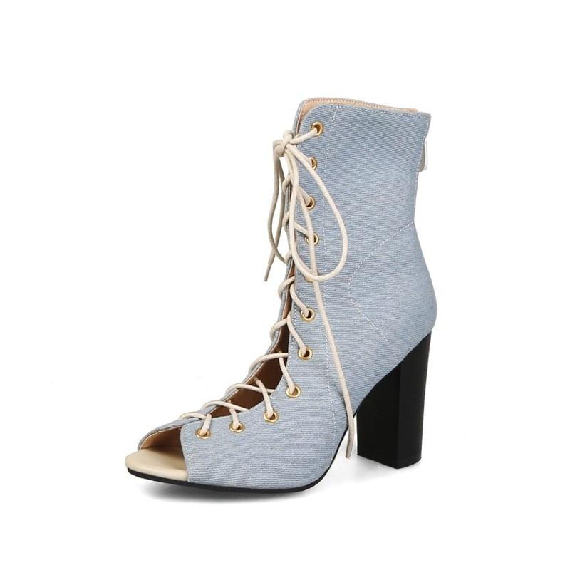 248fc9ad70ca9c Spartiates bleu Toe Bottines Noir D'été Peep Ciel Lacets Chaussures Femme  Haut 33 De Denim pu Talon Stiletto Femmes À Maziao ...