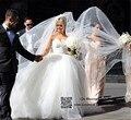 9022 корсет зашнуровать 2014 2015 бусины без бретелек кристалл милая белые свадебные платья для невест Большой размер макси официально