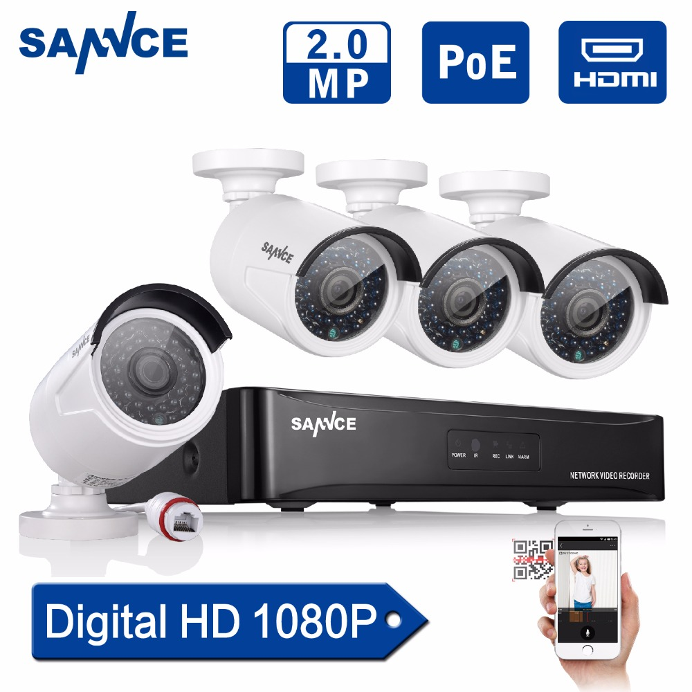 sannce 4ch 1080p poe cctv system full hd poe cctv nvr kit 2 0mp security camera infrared outdoor. Black Bedroom Furniture Sets. Home Design Ideas