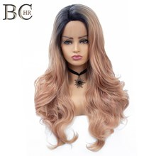 BCHR Long Natural Wave Synthetic Lace Frontal Wig 30Inch Rose Gold color glueless natural Hairline Wig for Women Free Shipping(China)