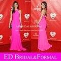 Бретелька розовый шифон длинная встроенное пром платья at человек года гала красный ковёр знаменитости вечернее платье vestido лонго