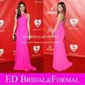 Halter rosa Chiffon longo cabido Prom vestidos de pessoas de ano vestido de Gala celebridade do tapete vermelho vestido longo