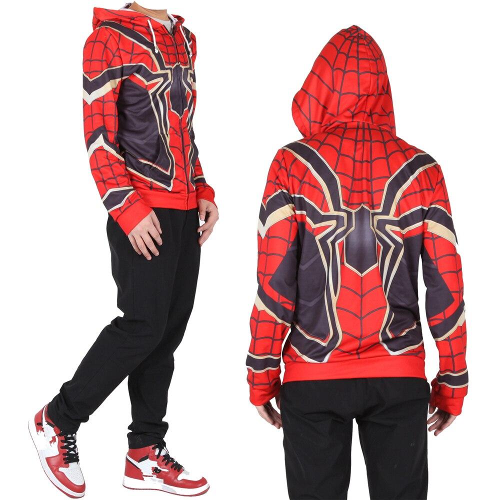 Adult Kids Iron Spider Spiderman Superhero Cosplay Sweatshirt Hoodie Spider Man Jacket Coat