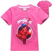 Niños Mariquita Milagrosa Camisetas Niñas Cosplay Tee Casual Tops Traje Ropa de Niños(China (Mainland))