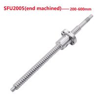 1SET End Machined SFU2005 Length 200 600mm Rolled Ball Screw C7 with 2005 Flange Single Ball Nut for BK15/BF15 CNC parts