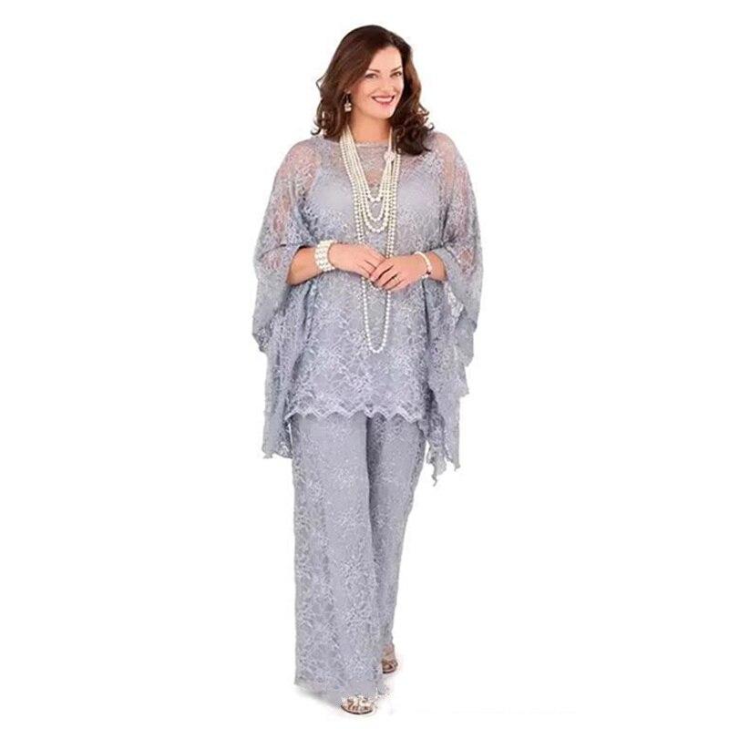 2019 Lace Mother of The Bride Pant Suit Plus Size Illusion Long Sleeve Formal Evening Dress Party Long Vestidos De Madrina