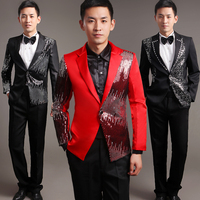 Moderator clothes paillette male master Sequin Dresses Stage Costumes Men terno Suit Ballroom Singer Suits Blazer jacket
