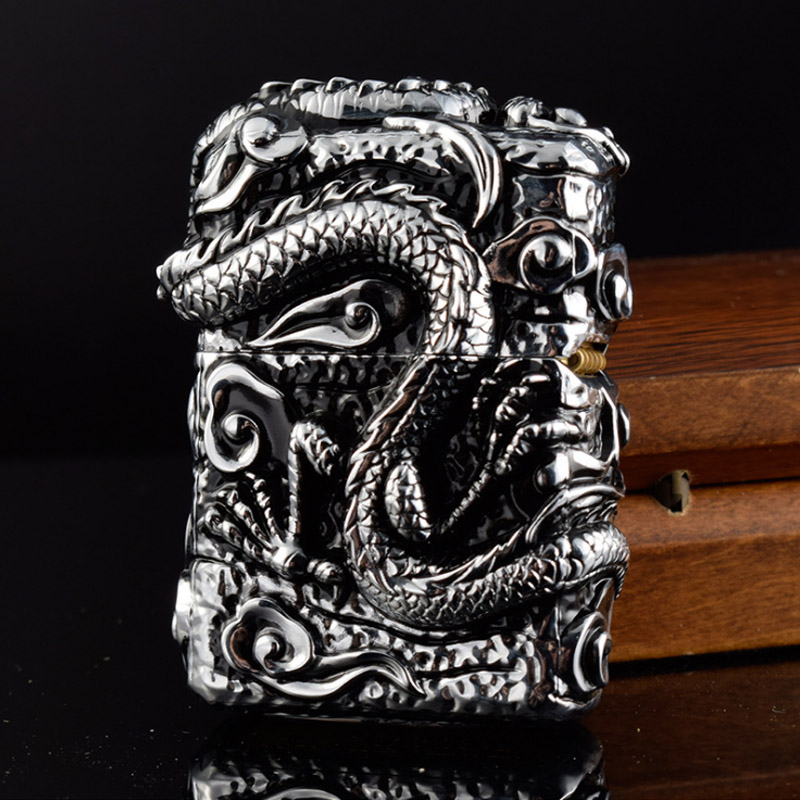 Luxurious ZORRO Vintage Kerosene Lighters Metal Heavy Armor Relievo Dragon Lighter Super Cool Gasoline Cigar Lighter Smoker Gift 1