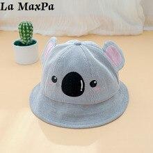 e63ad165b79 Corduroy Koala Bucket Hat Kids Beach Hat Children Girls Boys Cotton Sun Hat  Summer Cat Ear