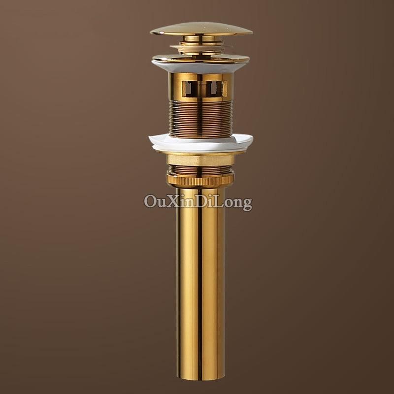 Gold/Rose Gold Brass Basin Pop Up Drain Stopper Lavatory Bathroom Sink Faucet Vessel Vanity Drainer Stopper Sink Waste Drainer