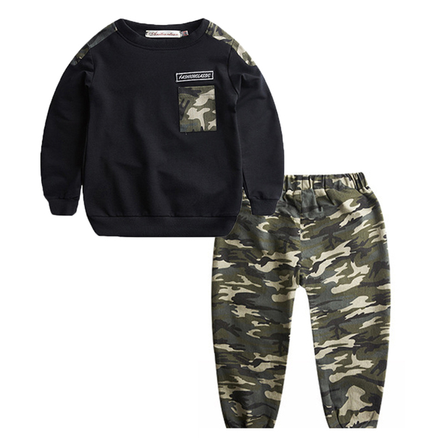 5-9 Puls Size Clothing Sets Boys Clothes Two Piece Boys Clothing Teenager Suit 2018 Autumn Children Camouflage Kids Clothes