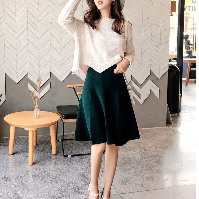 2019 Autumn Winter Knitted Skirt Women Midi High Waist A Line Knit Skirts One-pieces Seamles Pleated Elastic Thick Faldas 3