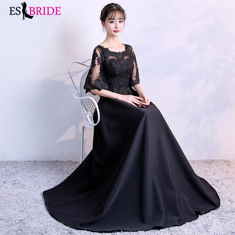 Simple Black Evening Dresses Long Formal Elegant A Line