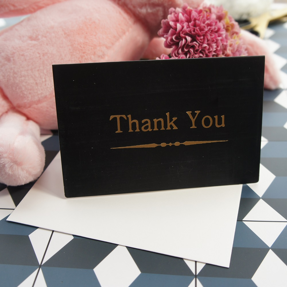 gold 25pcs black line thank you fold card with envelope