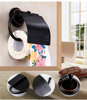 Free Shipping Black Copper Paper Towel Holder Paper Towel Hook Bathroom Paper Holder Multi function Paper Towel Holder