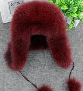 Image 4 - 2020 hình thật 100% Cáo Mũ Lông Thú nữ Nga Ushanka Aviator Bẫy bắt tuyết trượt tuyết Nón mũ lưỡi trai earflap mùa đông gấu trúc lông thú máy bay ném bom nón