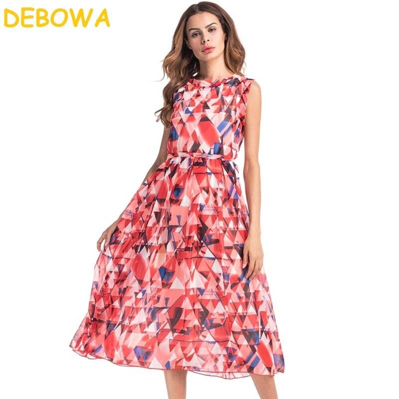 Playa De Vestido Impresión 2018 Mujeres Verano Nuevo Dulce Debowa Bohemia red Gasa Largo Floral Green YSqPxwgnn