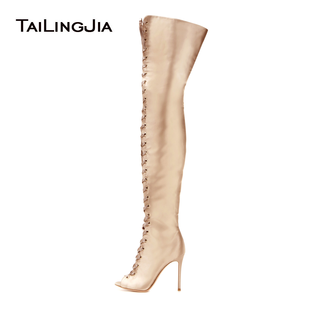 Women Peep Toe Over the Knee High Boots Gold Satin Sexy Stiletto Heel Lace up Thigh High Boots Long Boots with Zipper Large Size