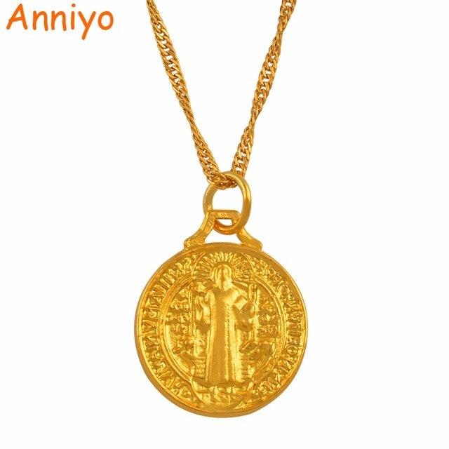 Anniyo Saint Benedict Medal Pendant Necklace Gold Color Catholic Church Jewelry