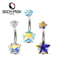 2018 New Arrival 3Pieces 316 L Surgical Steel Ins Star CZ Belly Button Ring Belly Piercing