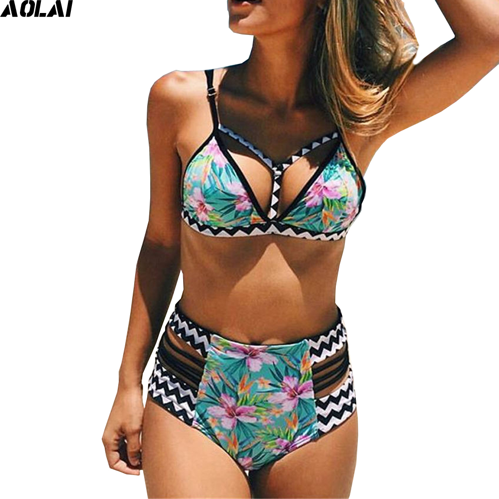 2017 Green Floral Swimwear Women High Waist Bikini Bandage Swimsuit Patchwork Biquini African Bikinis Set Push Up Bathing Suits и