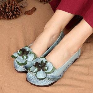 Image 3 - GKTINOO printemps été à la main en cuir véritable Ballet chaussures plates pour les femmes Super doux respirant femmes chaussures plates avec des fleurs