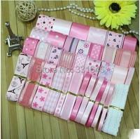 2015Hot! 35YARDS Pink Child Diy hair bows accessory material polyester rib ribbon lace grosgrain/satin printed ribbon set