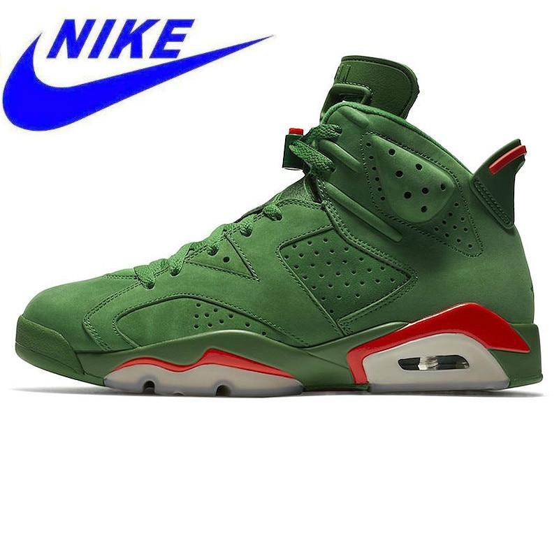 Original Nike Air Jordan 6 Gatorade AJ6 Gatorade Green Suede Men s  Basketball Shoes 2038bd5f2