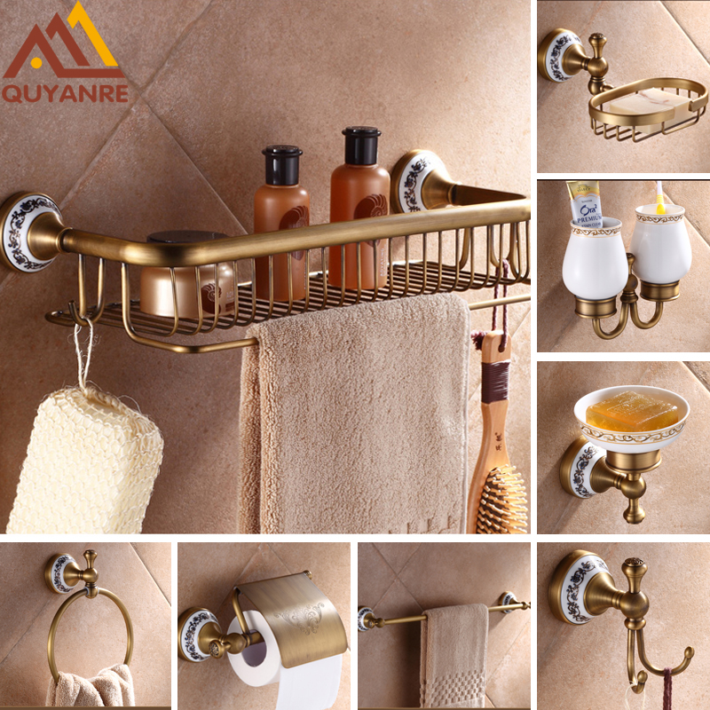 Quyanre Antique Brushed Brass & Porcelain Bathroom Hardware Towel Shelf Towel Bar Paper Holder Cloth Hook Bathroom Accessories