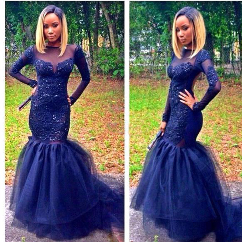 Navy Blue Tulle Mermaid Long Sleeves Prom Dresses 2017 Scoop Appliques Beaded Long Sweep Train Evening Gowns For Women