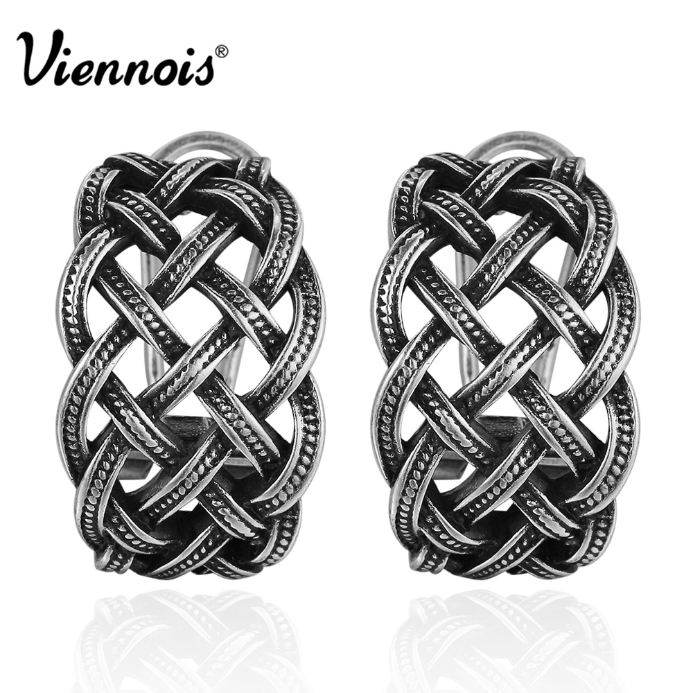 Viennois New Vintage Silver Color Twisted Stud Earrings for Women Retro Party Earrings pair of stylish rhinestone alloy stud earrings for women