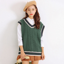In the winter of 2016 new women's loose thin V collar or cuff sweater knitted vest vest all-match.