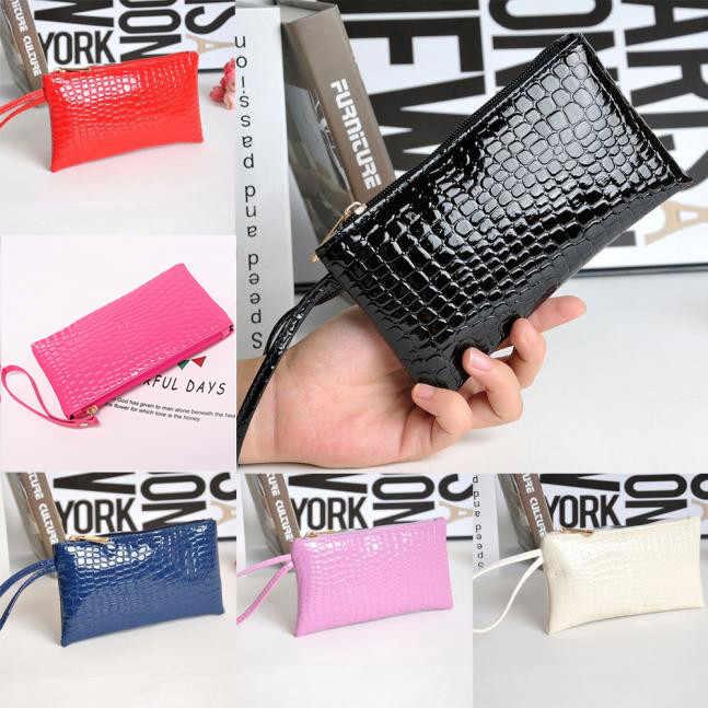 女性クロコダイル革クラッチハンドバッグ袋コイン財布多機能革コイン財布ファッションジッパー財布