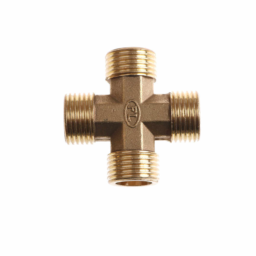 "High Quality 1/2"" BSP Male Thread 4 Way Brass Cross Pipe Fitting Adapter Coupler Connector For Water Fuel Gas"