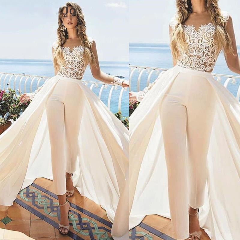 White Jumpsuit Wedding Dresses With Detachable Train Ankle Length Jewel Neck Appliques Outfit Bridal Dress Satin Overskirt Weddi