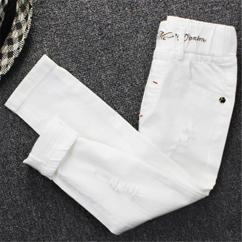 Image 3 - 2019children's jeans boy white casual pants in the big children spring and autumn girls Slim pants pants baby holes-in Pants from Mother & Kids