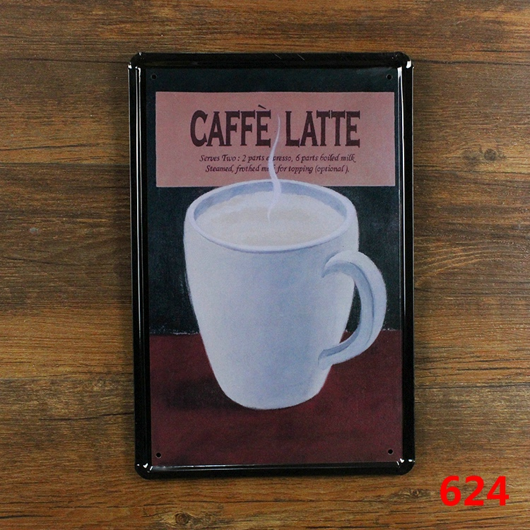 ≧CAFFE LATTE Poster Wall Decor Bar Home Vintage Craft Gift Art Iron ...