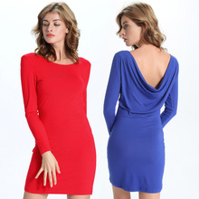 186220# Euramerica Women New Style Pure Cotton Knitted Neckwear Round Hip Bottoming Dresses Mujer Vestidos