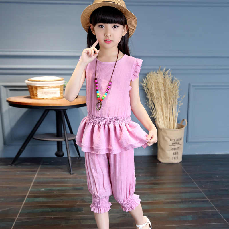 girls summer clothes casual cotton solid kids girl suit o-neck pullover violet pink girl t- shirt + pant 2 pcs 4 6 8 10 12 14 y