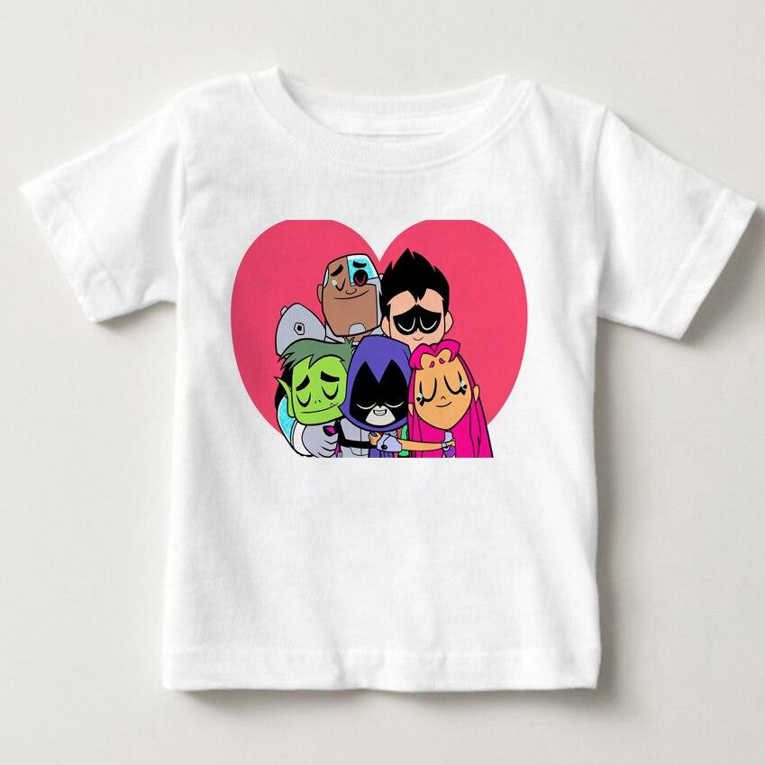 2018 Teen Titans Go мультфильм Дизайн детская футболка Robin Сталь bone большой Повседневное короткие белые топы для мальчиков/девочек милая футболка MJ