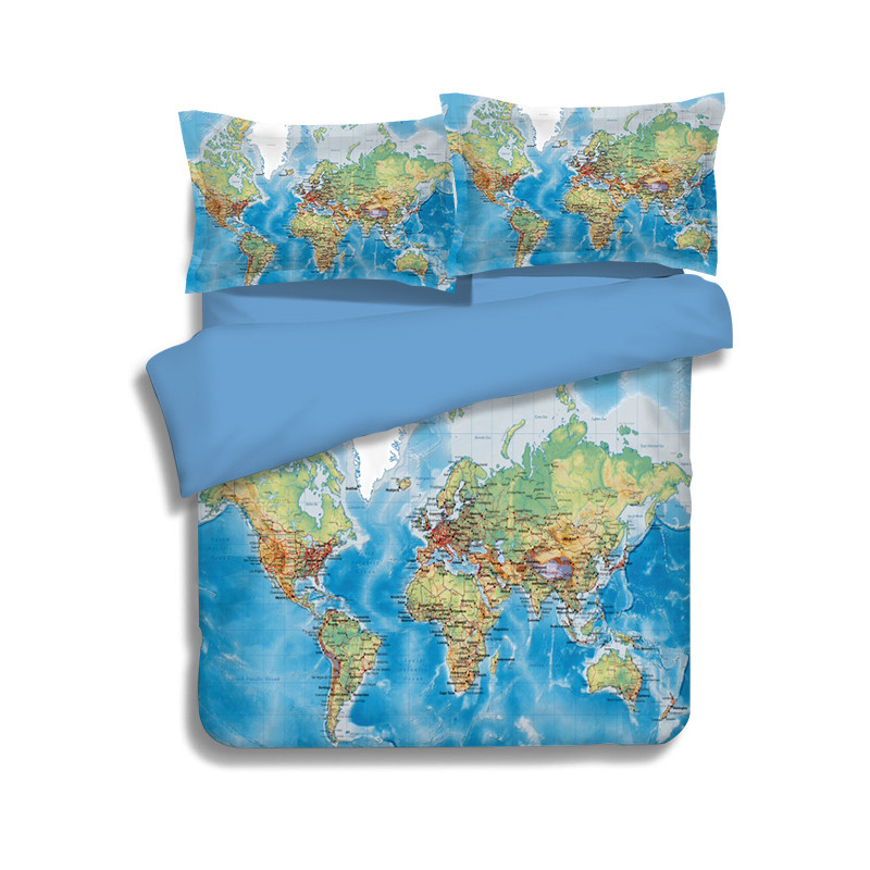 Luxury World Map Bedding Set Vivid Printed Blue Bed Cover